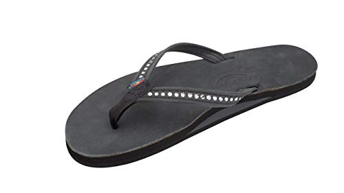 Rainbow Sandals Women's Single Layer Premier Leather w/Swarovski Crystal Narrow Strap