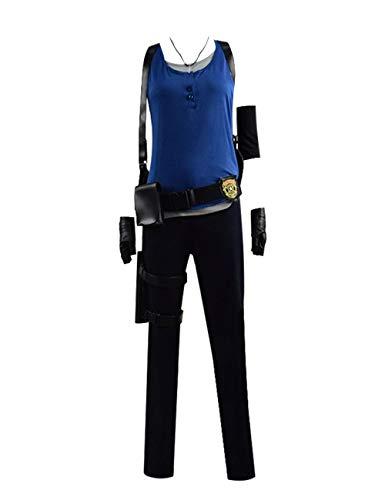 Zhangjianwangluokeji Halloween Jill Valentine Cosplay Kostüme Damen Weste Full Set Outfits (Blau, Angepasst)