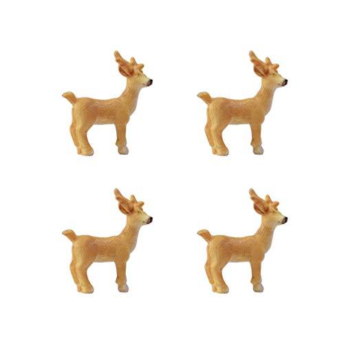 Healifty 4pcs Miniatur Weihnachten Rentierfiguren Weihnachtskuchen Topper Fee Garten Puppenhaus Dekorationen Zubehör
