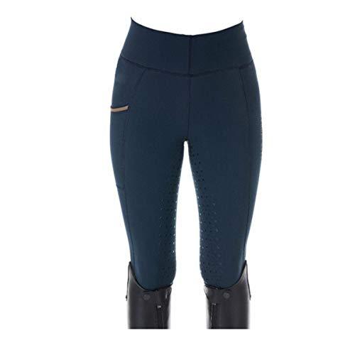 LGQ Pantalones de Montar a Caballo para Mujer, Pantalones de Montar Ajustados elásticos con Estampado de Lunares, Pantalones ecuestres ventilados con Parche de Rodilla,Azul,S