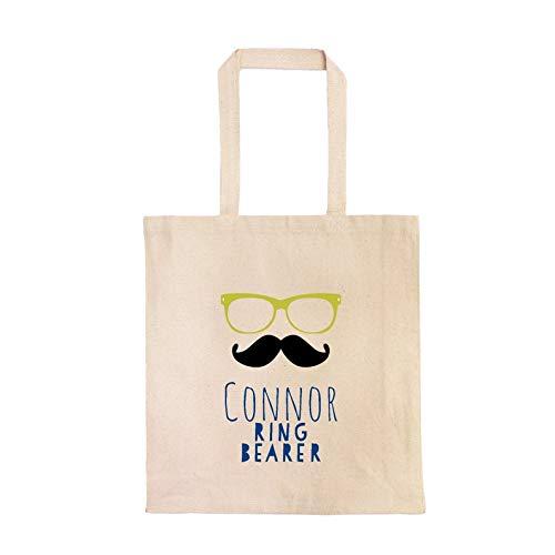 Ring Bearer Personalisierte Tragetasche Custom Ring Träger Geschenktasche Hipster Schnurrbart Brille Ring Bearer Bag Little Boy
