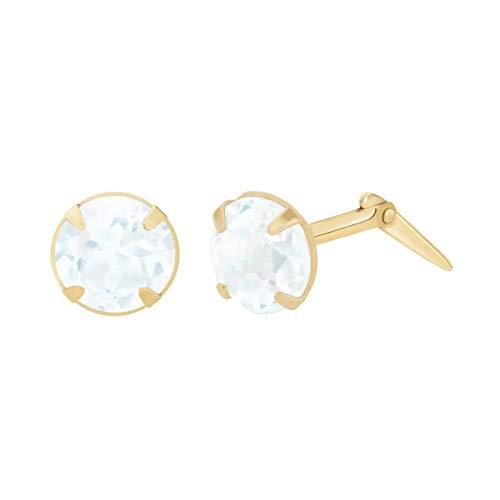 9ct yellow gold 5mm aquamarine gemstone earrings gift box included