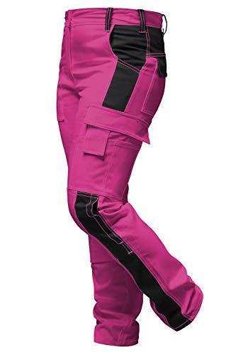 strongAnt Damen Arbeitshose komplett Stretch Pink Schwarz für Frauen Malerhose mit Kniepolstertaschen - Made in EU - Pink-Schwarz 36