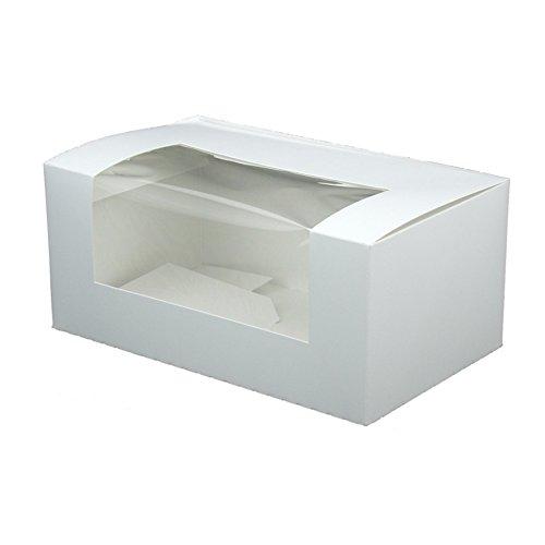 BIOZOYG Cupcake Patisserie-Schachtel pappe weiß I Hochwertige Cupcake Muffin-Box Gebäck Geschenkbox Kuchen-Karton recycelbar I 50x stabile Keks Verpackung mit Sichtfenster 18x11x8cm, rechteckig