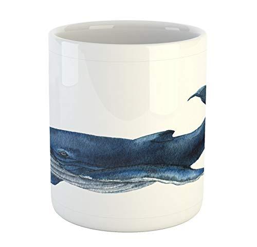 N\A Taza de la Ballena, Pantalla Gigante Natación de los Pescados de la Fauna acuática Mamíferos Marinos Defensor Animal, Taza de cerámica de la Taza de café de Agua de té, Bebidas, 11 oz Gris Azul