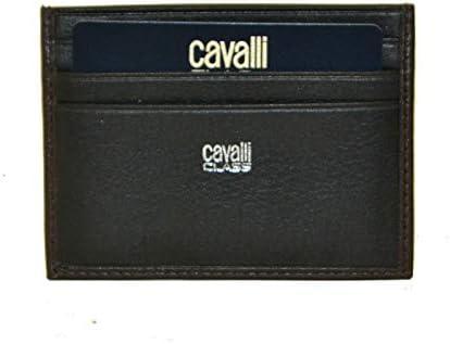 Roberto Cavalli Class - Tarjetero para hombre BROWN/ BLACK