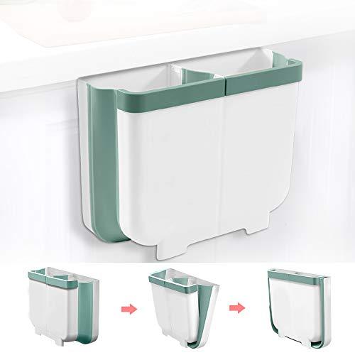Gkodeamig Cubos de Basura Colgando, Cubo Basura Reciclaje, Bote de Basura Plegable 2 en 1 para Puerta de Armario de Cocina, Dormitorio, Baño (Verde, 13L)