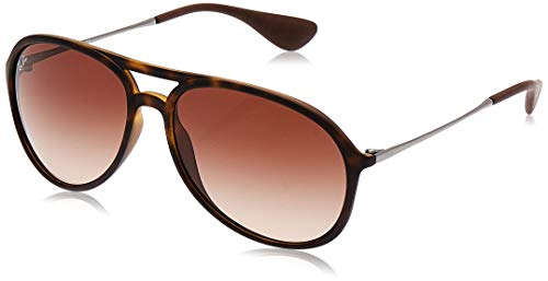 RAY-BAN RB4201 Alex Aviator Sunglasses, Rubber Havana/Brown Gradient, 59 mm