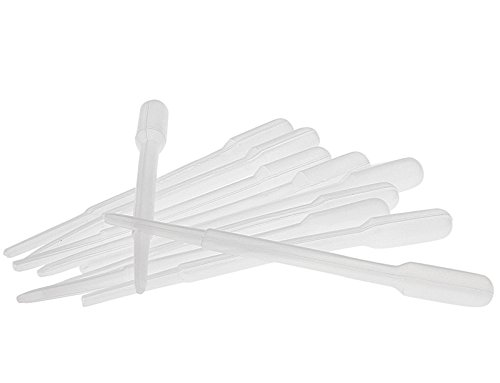 Kosmetex 10x Einweg-Pipetten, Pasteurpipetten, Futterpipette 2.4 ml Pipette für Laborbereich, Küche, Seidenmalerei, Basteln, 10 Stück