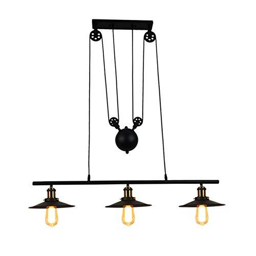 SXFYWYM Industriel rétro Pendentif lumière télescopique Fer Noir 3 têtes E27 plafonniers pour Lampe de Cuisine Bar éclairage,Black,97x24x35cm