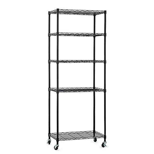 5 Shelf Garage Shelving Unit, Metal Shelves with Wheels Heavy Duty (188 lbs per shelf), Adjustable Storage Rack, NSF Wire Shelving, Utility Shelf for Kitchen Pantry Rack, Black (13.8L x 23.6W x 61.6H)