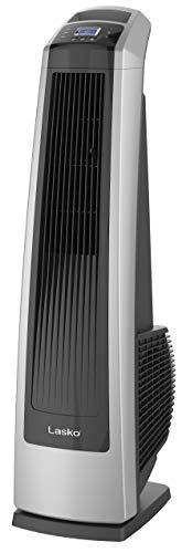 Lasko U35115 Ventilador eléctrico oscilante de alta velocidad con temporizador y mando a distancia para uso en interiores, dormitorios y oficinas domésticas, 35 pulgadas, color negro plateado
