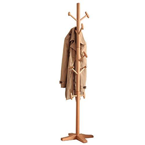 Perchero de madera maciza, más estable y práctico, para el hogar, de pie y creativo, de 10,27 (color de madera)