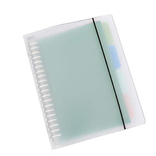 LederleiterUSA Plastic File Folders Organizer 26 Holes Clear Document Folders B5 US Letter Size File Sleeves with Spiral Metal Binder Folders Organizer Binder for School Home Work Office