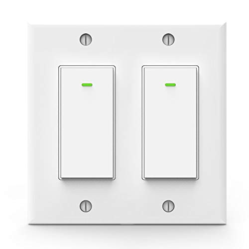 Alexa Light Switch, Double Smart Wifi Light Switches, Smart Switch 2 Gang Works with Google Assistant and IFTTT(Two separate switches with one wall plate)