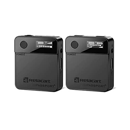 Staright Sistema de microfone de lapela sem fio Relacart Mi1 2.4GHZ Mini microfone de lapela sem fio com receptor e transmissor Tela OLED para câmera DSLR Smartphones Filmadoras Vlogging
