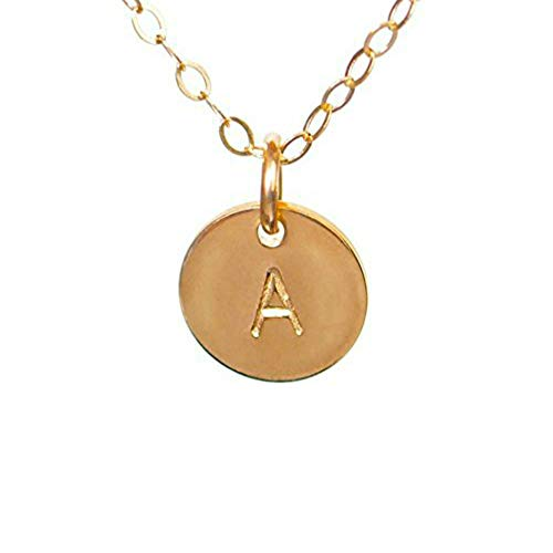 EFYTAL Initial Necklace- Tiny Gold Filled Custom Alphabet Necklace - Dainty Disc, Personalized Monogram Necklace