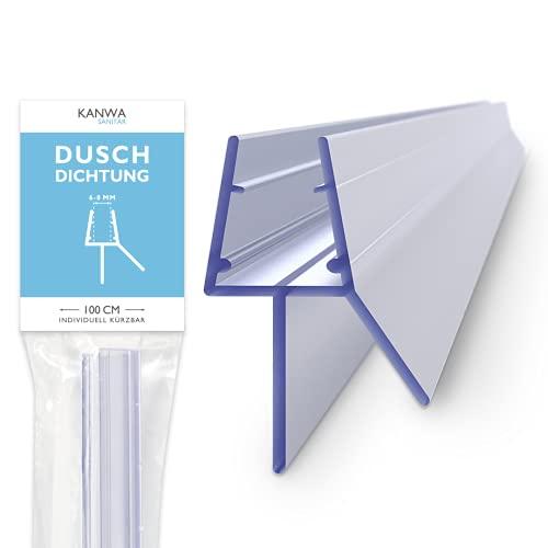 KANWA® Duschdichtung für Duschtüren - 6mm 7mm 8mm Glastüren - für eine trockene Dusche in Ihrem Bad - Duschkabinen Erstausrüster-Qualität - Duschtürdichtung 100cm