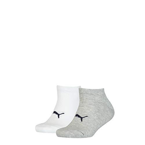 PUMA Unisex-Child Kids' Seasonal Sneaker-Trainer (2 Pack) Socks, white grey/white, 35/38
