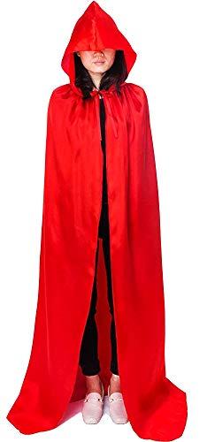Inception Pro Infinite - Roter Mantel mit Kapuze - Erwachsene - lang - Vampir - Dracula - Satin - Nosferatu - Verkleidung - Karneval - Halloween - Cosplay - Mann - Frau
