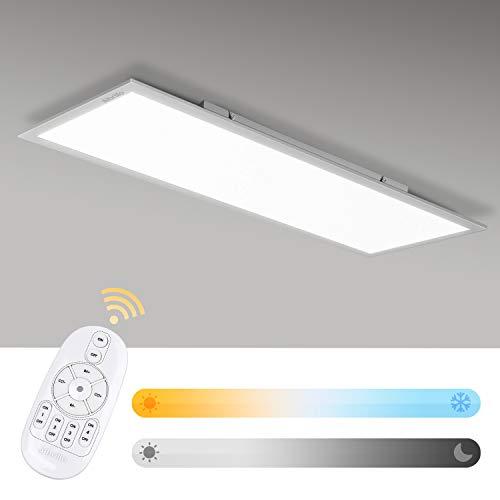 Albrillo LED Deckenleuchte-Panel - 28W LED Panel Flach dimmbar, Farbtemperatur Einstellbar mit Fernbedienung, Warmweiss-Kaltweiss (2700-6500K), Deckenlampe für Büro, Wohnzimmer, Küche, 100x25cm