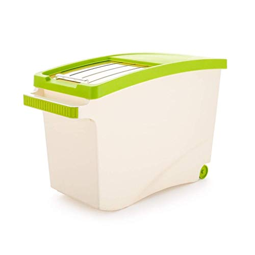 ZXL opslag mueslihouder, rijst opslagdoos huishoudreis vat 10 kg 15 kg met deksel afdichting vochtbestendig geschikt voor granen en meel (kleur: bruin, maat: groot)