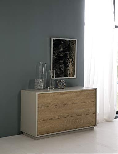 Dugarhome Muebles para Dormitorios - Cómoda Fénix Piedra/Roble 3 Cajones (115x46,5x78)