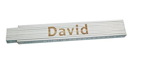 Persönlicher Zollstock / Meterstab weiß mit Gravur David