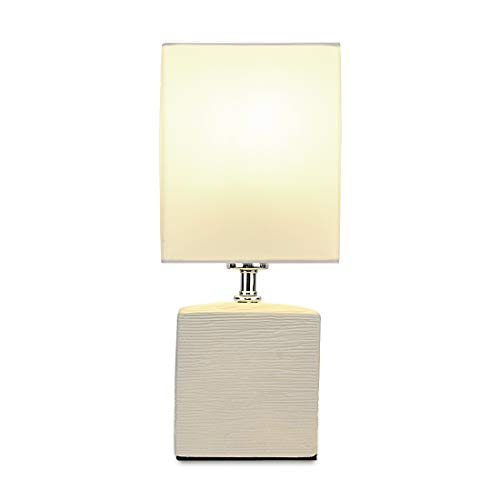 Small Beige Ceramic Table Lamp with White Fabric Shade for Bedroom Office,TEBLAMPUE Modern Square Desk Lamp with LED Light Bulb 12 Inches