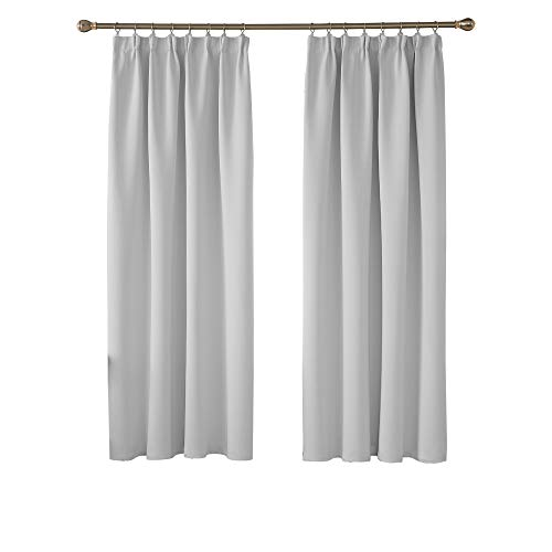 Deconovo Solid Thermal Insulated Curtains Tape Top Blackout Curtains for Bedroom 46 x 72 Greyish White Two Panels