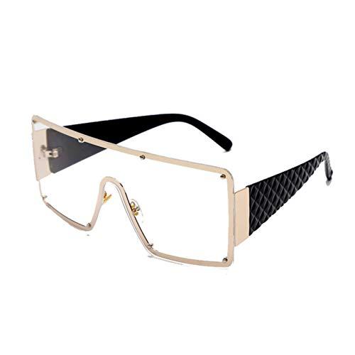 UKKD Gafas de sol cuadradas de las mujeres de la moda de gran tamaño marco de metal vintage gafas hombres tonos retro gradiente colores Uv400