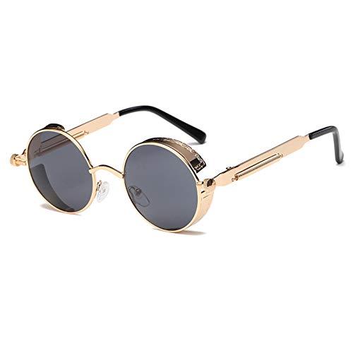 PrittUHU Metal Redondo Gafas de Sol Hombres Mujeres Moda Gafas Retro Marco Vintage Gafas de Sol UV400 (Lenses Color : 2)