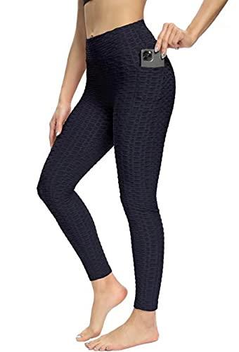 CLEMARS Push Up Leggings para Mujer con Bolsillo, Leggins Mujer Deporte con Bolsillo Alta Mujer Malla Celular Panta (Azul Oscuro, M, m)