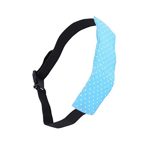 Kaxofang 1 Pieza de Banda de fijacion Soporte de Cabeza para Nino con impresionde Asiento de Coche para Dormir Cinturon del Asiento de Seguridad de Carrito de Bebe (Azul)