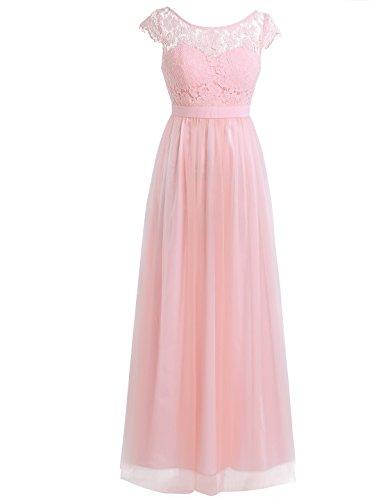 Tiaobug Elegant Damen Spitze Kleid festliches Cocktailkleid Abendkleid Ärmellos Hochzeit Partykleid...