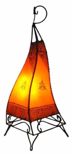 Plain Moroccan Henna Floor Lamp - Square - Orange 60CM -