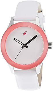 Fastrack Women's White Dial Leather Band Watch - 6078SL01