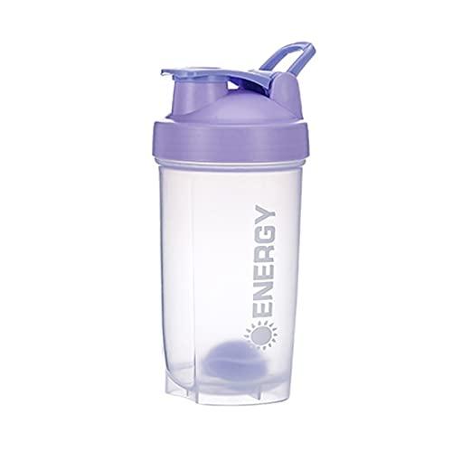 GRASARY Botella Mezcladora De 500 Ml con Bola Agitadora, Hervidor De Agua Portátil A Prueba De Fugas, Taza De Agua De Gran Capacidad para Viajes De Fitness Malva pálido
