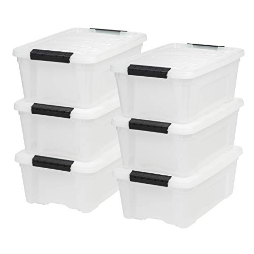 IRIS USA TB Pearl Plastic Storage Bin Tote Organizing Container with Durable Lid and Secure Latching Buckles, 12 Qt, 6 Count