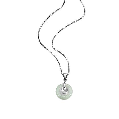 .925 Sterling Silver Genuine Green Jade Round Donut-Shaped 1' Pendant Necklace with'Good Fortune' Chinese Characters on 18' Box Chain
