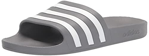 adidas Unisex Adilette Aqua Slide Sandal, Grey/White/Grey, 6 US Men