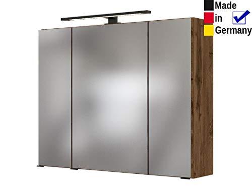 expendio Spiegelschrank Tessin 6 Wotan Eiche 80x64x20 cm Badspiegel LED-Beleuchtung Wandschrank Badschrank Badmöbel Badezimmer
