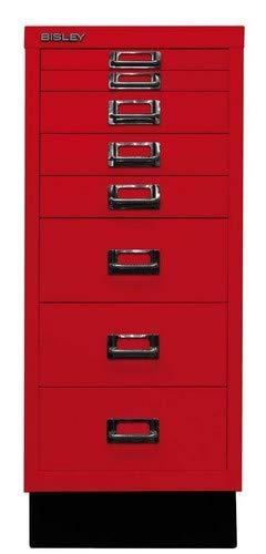 BISLEY MultiDrawer, 29er Serie mit Sockel, DIN A4, 8 Schubladen, Metall, 670 Kardinalrot, 38 x 27.9 x 67 cm
