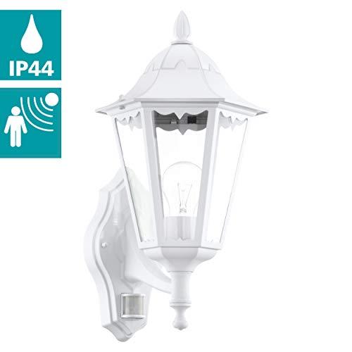 EGLO Außen-Wandlampe Navedo, 1 flammige Außenleuchte inkl. Bewegungsmelder, Sensor-Wandleuchte aus Aluguss und Glas, Farbe: Weiß, Fassung: E27, IP44