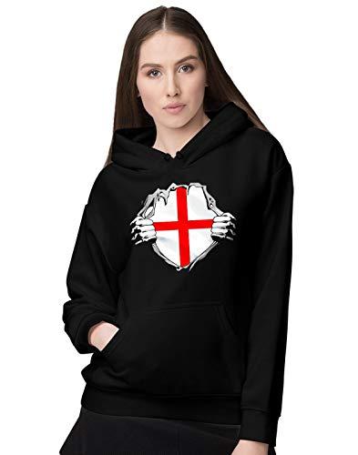 BLAK TEE Femme Superheroes Costume England Flag Sweat a Capuche M
