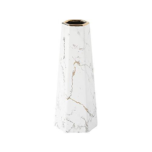 HCHLQLZ 25cm Weiß Gold Marmor Vase Keramik Vasen Blumenvase Deko Dekoration