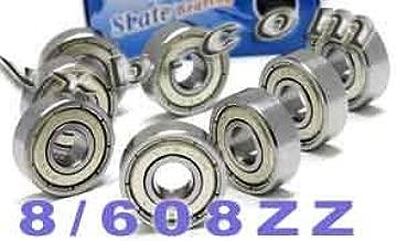 VXB 608ZZ Set of 8 Skateboard Bearing 608Z Shielded Ball Bearings