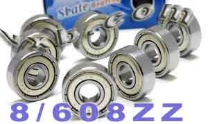 VXB 608ZZ Set of 8 Skateboard Bearing 608Z Shielded Ball Bearings