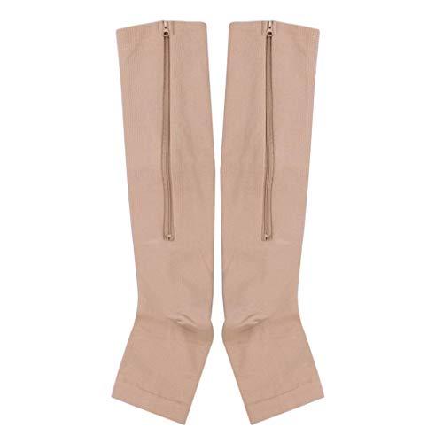Vkospy Nylon-Reißverschluss Compression Sock Bein Kniestütze öffnen Toe Verhindern Varizen Stretch-Socken,Skin Color,XXL