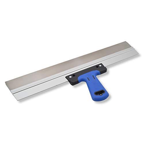 DEWEPRO® Edelstahl Fassadenspachtel - Dekorspachtel - Flächenspachtel - Flächenrakel mit Aluhalter und 2-Komponenten Softgriff- Größe: 500x50mm